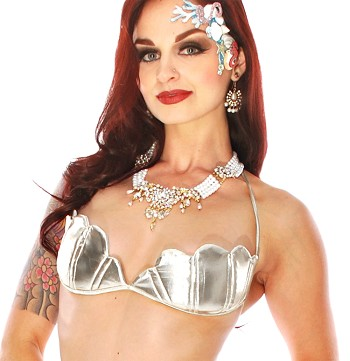 Mermaid Costume Shell Top - METALLIC SILVER