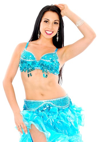 Sequin Beaded Bra and Belt Set with Teardrop Paillettes - TURQUOISE / SILVER
