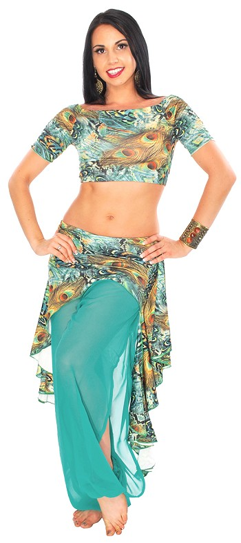 3-Piece Asymmetric Belly Dance Fusion Harem Pants Set - PEACOCK