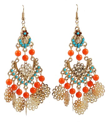 Arabesque Earrings with Beads & Filigree Accents - ORANGE / TURQUOISE