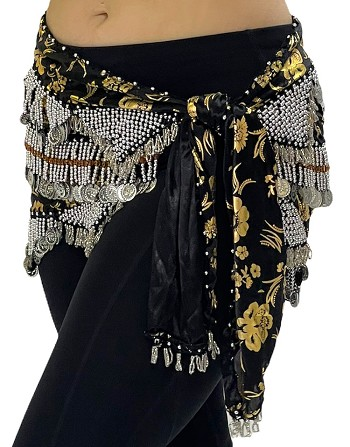 CAIRO COLLECTION: Floral Metallic Print Beaded Coin Hip Scarf - BLACK / SILVER