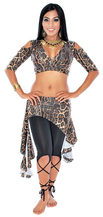 2-Piece Belly Dance Fusion Choli and Overskirt Set - JUNGLE LEOPARD