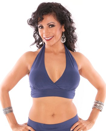 Comfy Stretch Halter Dance Top - CARIBBEAN BLUE