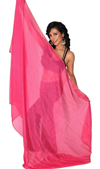 3 Yard Chiffon Belly Dance Veil with Sequin Trim - ROSE PINK / GOLD
