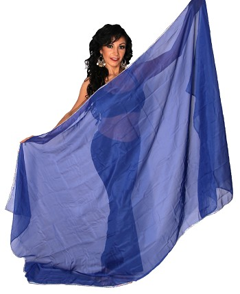 3 Yard Chiffon Belly Dance Veil with Sequin Trim - BLUE / SILVER