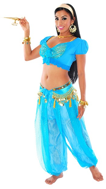 deluxe arabian princess jasmine blue halloween costume turquoise