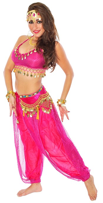 Belly Dancer Genie Costume with Sparkle Top & Harem Pants - FUCHSIA