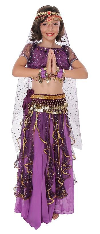 Little Girls Arabian Princess Purple Belly Dance Sparkle
