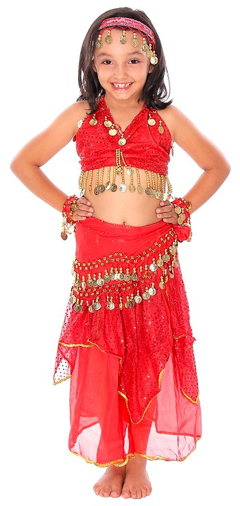 Little Girls Shimmer & Sparkle Belly Dance Costume with Coins - RED