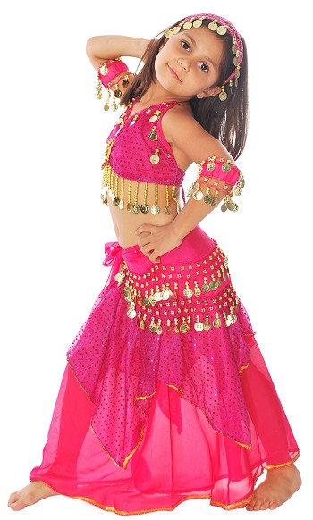 Little Girls Shimmer & Sparkle Belly Dance Costume with Coins - FUCHSIA