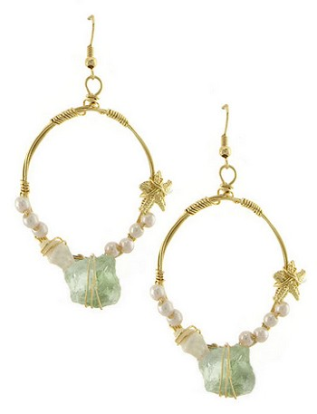 Sea Life Stone and Pearl Mermaid Hoop Earrings - AQUA