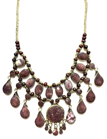 Deluxe Afghani Tribal Teardrop Necklace - JASPER / BURGUNDY