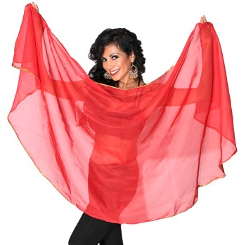 Petite Semi-Circle Chiffon Belly Dance Veil with Sequin Trim - RED / GOLD