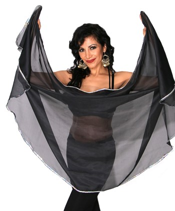 Petite Semi-Circle Chiffon Belly Dance Veil with Sequin Trim - BLACK / SILVER