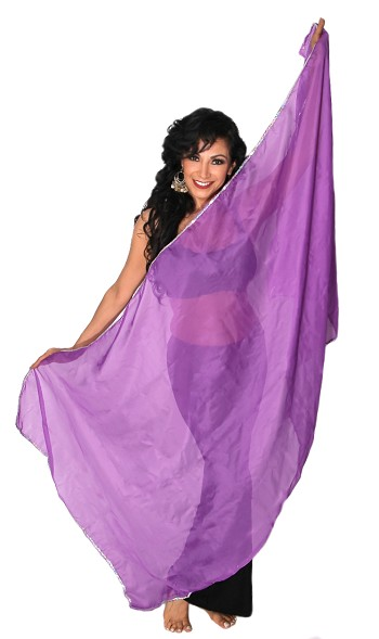 Petite Chiffon Belly Dance Veil with Sequin Trim - PURPLE / SILVER