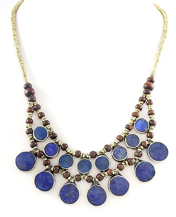 Afghani Kuchi Tribal Necklace with Wood Beads & Round Lapis Pendants