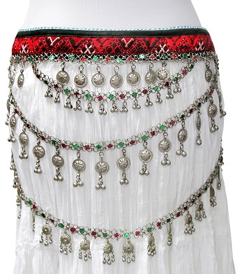 3-Row Afghani Kuchi Tribal Textile Costume Belt with Bells and Discs