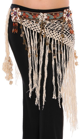 Tribal Belly Dance Crochet Belt with Shells, Chains, and Coins - IVORY
