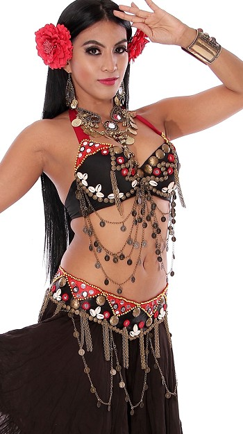 Tribal Belly Dance Bra & Belt Costume Set with Shisha Mirrors, Coins, and Shells