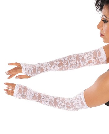 Long Lace Gloves / Sleeves (PAIR) - WHITE