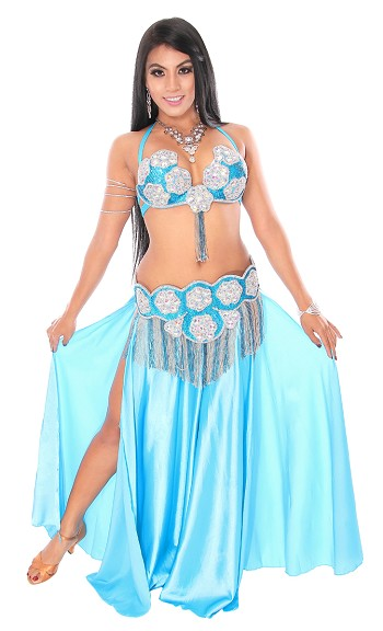 CAIRO COLLECTION: Rhinestone & Crystal Professional Costume From Egypt - TURQUOISE / SILVER