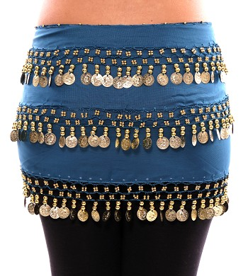 3-Row Straight Design Classic Belly Dance Coin Hip Scarf - TEAL BLUE / GOLD