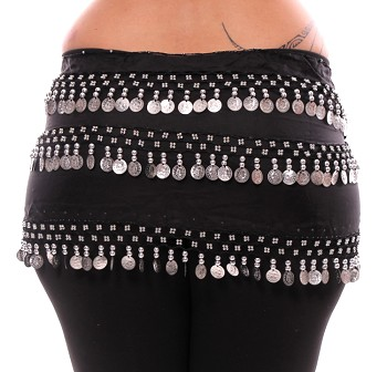 Plus Size 1X - 4X Chiffon Belly Dance Hip Scarf Sash with 3 Rows of Coins - BLACK / SILVER