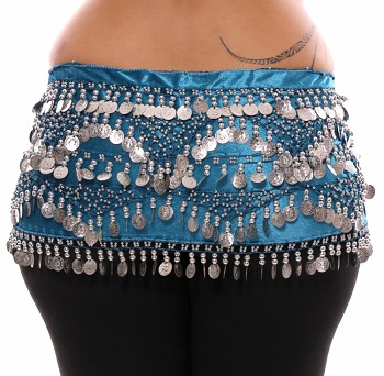 Plus Size 1X - 4X VELVET Belly Dance Coin Hip Scarf Belt - TEAL BLUE / SILVER