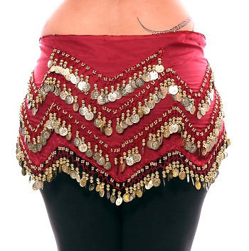 Plus Size 1X - 4X Long Belly Dance Zig-Zag Coin Hip Scarf Skirt - RED ROSE / GOLD