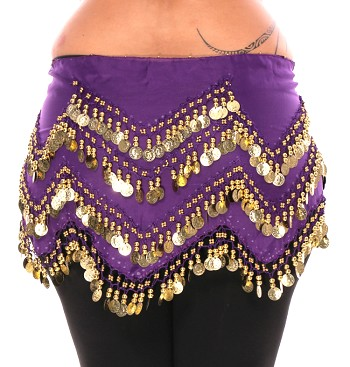 Plus Size 1X - 4X Long Belly Dance Zig-Zag Coin Hip Scarf Skirt - PURPLE GRAPE / GOLD