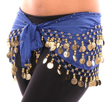 Chiffon Belly Dance Hip Scarf with Beads & Coins - ROYAL BLUE / GOLD