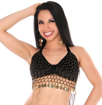 Velvet Belly Dance Costume Top with Beads and Coins - BLACK / GOLD