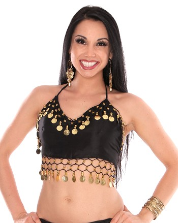 Chiffon Belly Dance Costume Top with Coins - BLACK / GOLD