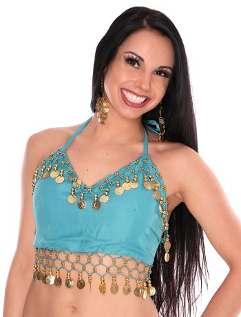Chiffon Belly Dance Costume Top with Coins - JASMINE TURQUOISE BLUE / GOLD