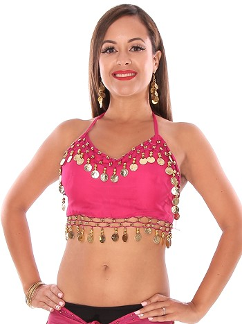 Chiffon Belly Dance Costume Top with Coins - DARK PINK / GOLD