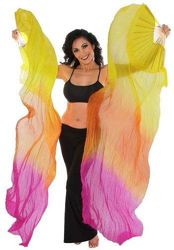 Silk Fan Veils for Belly Dancing (Set of 2) - YELLOW / ORANGE / FUCHSIA