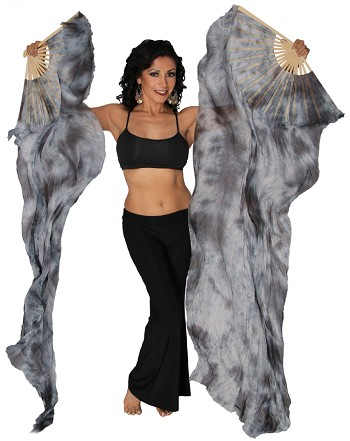 Belly Dancer Silk Fan Veils Stage Prop (Set of 2) - Tie Dye - STORMY NIGHT