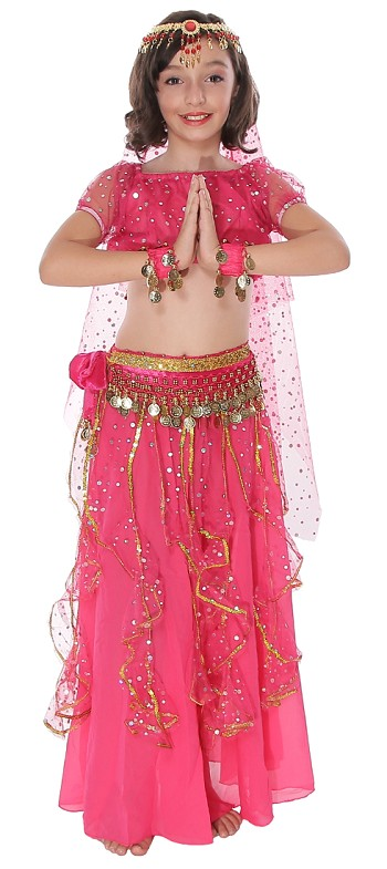 Little Girls Arabian Princess Belly Dance Sparkle Costume - DARK PINK