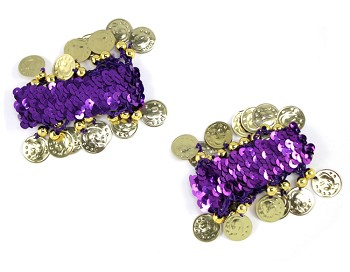 Sequin Stretch Bracelets with Coins (PAIR) - PURPLE / GOLD