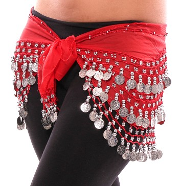 Chiffon Belly Dance Hip Scarf with Beads & Coins - RED / SILVER