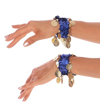 Sequin Stretch Bracelets with Coins (PAIR) - BLUE / GOLD