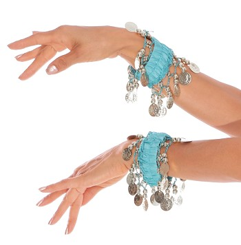 Chiffon Stretch Bracelets with Beads & Coins (PAIR): TURQUOISE / SILVER