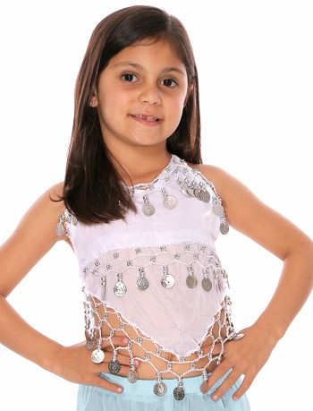 Little Girl's Chiffon Belly Dance Costume Halter Top with Coins - WHITE / SILVER