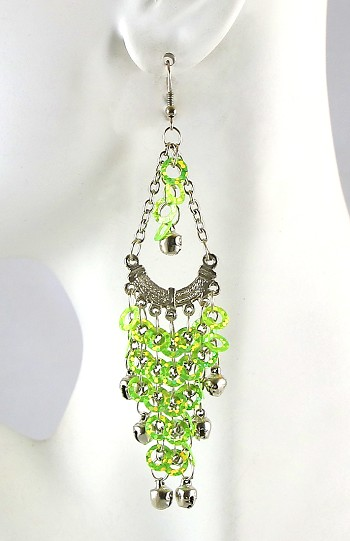 Sparkling Sequin Belly Dance Earrings with Bells - LIME / SILVER