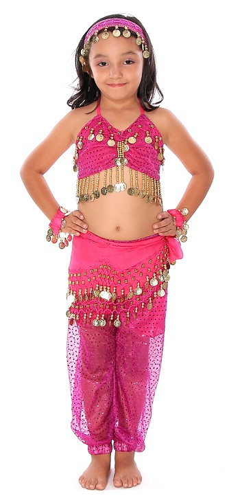 6-Piece Sparkle & Shine Genie Belly Dancer Kids Costume - FUCHSIA PINK