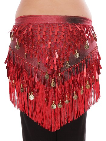 Tie-Dye Triangle Hip Scarf with Teardrop Paillettes, Fringe, & Coins - RED / BLACK
