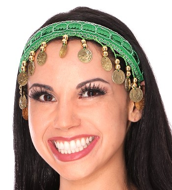 Sequin Belly Dance Costume Headband with Coins - GREEN / GOLD