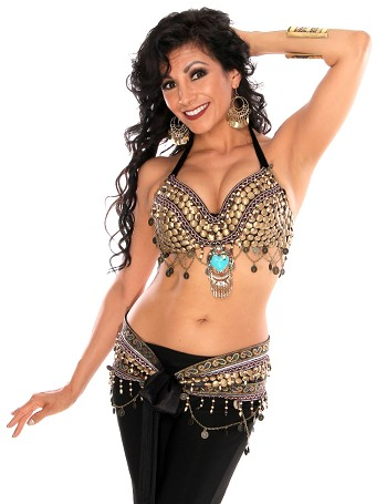 2 Piece Arabia Coin Belly Dance Costume Bra Belt Set