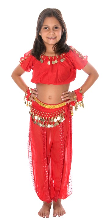 5-Piece Little Girls Arabian Princess Genie Kids Costume - RED