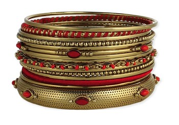 Belly Dance Jewelry - Set of 15 Embossed Beaded Gold Bangles - RED